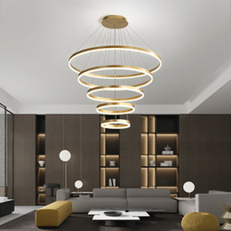 pendant lights staircase NZ - Nordic led ring living room chandelier modern minimalist villa staircase hall pendant light art personality restaurant lamps R30