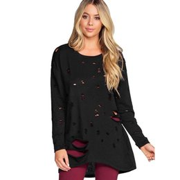8bc34f42b7d5 winter Women Solid Holes Blouse shirts O-neck Long Sleeve Loose Style off  should Tops blusas mujer de moda ropa camisetas mujer