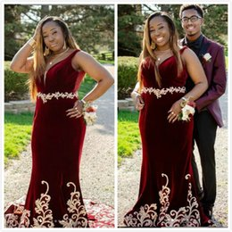 9694ce56c97 Burgundy Mermaid Lace 2019 Arabic Prom Dresses Deep V-neck Beaded Velvet  Evening Dresses Sexy Formal Party Bridesmaid Pageant Gowns