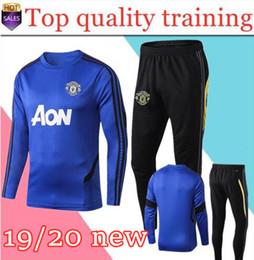 Skinny training pantS men online shopping - new Manchester tracksuit POGBA soccer training suit Survetement LUKAKU RASHFORD UNITED football kit skinny pants Sportswe