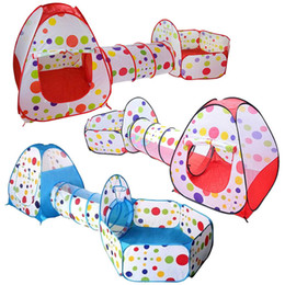 3Pcs / Set Tente pour enfants Toy Ball Pool enfants Tipi tente Piscine Ball Pool Pit Tentes bébé Maison Crawling Tunnel Océan Tente Enfants en Solde