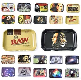 paper rolls for shipping wholesale UK - Roll rolling trays Bob Marley tray 18*12.5*1.5cm metal for smoking pipes papers mix pattern leaf free shipping