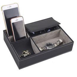 $enCountryForm.capitalKeyWord Australia - 5 Mixed Slots Leather Watch Box Case Jewelry Watch Storage Organizer Jewelry Box For Clock Watches Rings Bracelet Display Holder