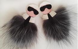 $enCountryForm.capitalKeyWord Australia - Fluffy Fox Fur Pom Poms Handmade Leather Charm Keychain Pompom Key Chain Holder Ring Luxury Gift Bag Clothes shoes Accessories