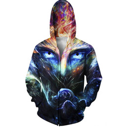 $enCountryForm.capitalKeyWord UK - Funny Hoody Sweatshirt Men Cool 3D Printing Outerwear Leisure Funny Galaxy Space Hoodies Zipper Fashion Male Jackets With Pocket