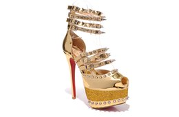 Wholesale gold lace yard resale online - 2019 female designer star with the same paragraph versatile luxury fashion high heels ladies rivet fish mouth sandals yards