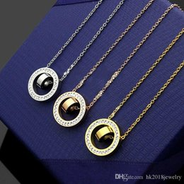 Necklaces Pendants Australia - Luxury Brand Wholesale 316L Stainless Steel Pendant Necklace with Stone Lucky Loop Gift Female Gift Charm Necklace Jewelry with Link Chain