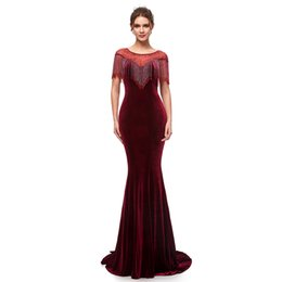 velvet evening UK - Burgundy Velvet Sexy Mermaid Prom Dresses Jewel Neckline With Beads 2019 With Zipper Formal Evening Party Gowns 5400