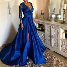 Long white summer shirt dresses online shopping - Royal Blue Plunging V Neck Lace Long Prom Dresses High Split Long Sleeves Satin Evening Gowns Plus Size Sweep Train Vestidos De Festa