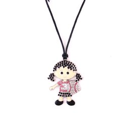 Chinese  Fashion Cute Baseball Girl Pendant Colourful Crystal Sports Adjustable Rope Necklace For Women manufacturers