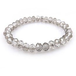 bracelets stretchy crystals NZ - Transparent Grey 8mm Faceted Crystal Beaded Bracelet For Women Simple Style Stretchy Bracelets 20pcs lot Wholesale
