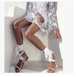 48b6856c1ae1 Ladies Sexy Wedding Party Summer Sandals Shoes Plus Size 34-43 Women Silk  Ribbon Lace Up Bandage Flat Bohemia Sandals Shoes