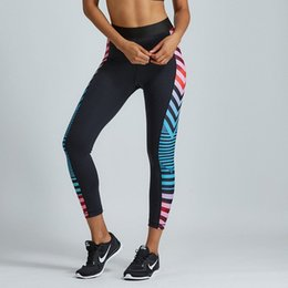 yoga pant pattern free NZ - Yoga Pants Digital Gradual change Elastic force Sports printing stripe Leggings Exercise Workout Sportswear Elastic Waist