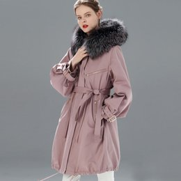 $enCountryForm.capitalKeyWord NZ - Large Real Raccoon Fur Collar Hooded 2019 Winter Jacket Women Fur Lined Parka For Female Long Women's Snow Winter Coat Plus Size
