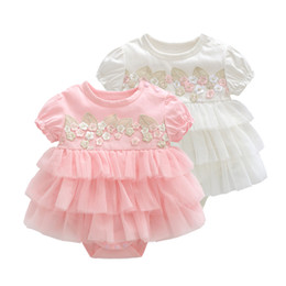 Cupcakes Girls Australia - Princess 2019 Baby Girl Clothes Summer Newborn Infant Girls Dress Embroidery Party Cupcake Baptism Mini Dresses Y19061101