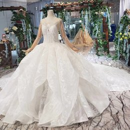 Custom veils online shopping - 2019 Summer Latest Wedding Dresses Long Tulle Sleeve Covered Button Long Lace Veil Shining Sequins Applique Pattern Luxury Bridal Gowns New