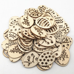 $enCountryForm.capitalKeyWord Australia - Wooden Craft Easter Eggs DIY Wood Chips Hanging Ornaments Easter Party Decoration DIY Wood Craft 50pcs  Pack