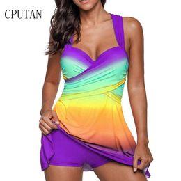 Skirt Suit Plus Australia - Sexy Gradient Plus Size Skirt Swimwear Women Two Piece Push Up Swimsuit Beachwear Bathing Suit Dress Large Bust Monokini S~5xl J190519