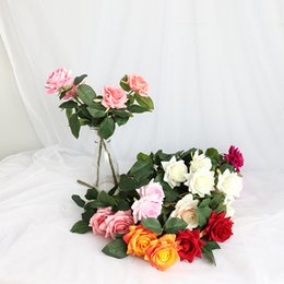 small wedding flower bouquets Canada - 5 pcs lot Artificial Rose Silk Flowers Small Bouquet Flores Home Party Spring Decoration Wedding Decoration Fake Flower DIY Wreath