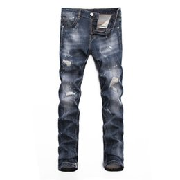 Rivets spots online shopping - Men s jeans Bottoms Tooling denim new products trend Slim fit Comfortable fashion Individuality hole White spot