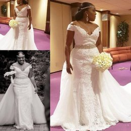 detachable train belt 2020 - African Plus Size Wedding Dresses With Detachable Train Off The Shoulder Lace Crystal Belt Garden Mermaid Wedding Dress