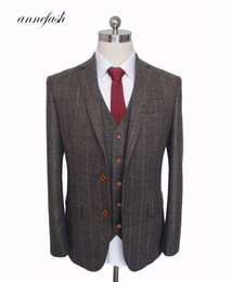Dark Khaki Suits Australia - Custom Made Woolen Dark Brown Herringbone Tweed British Style Mens Suit Tailor Slim Fit Blazer Wedding Men Suit 3pcs Y190422