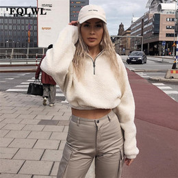 Wholesale cropped top hoodie for sale - Group buy FQLWL Teddy Turtleneck Oversized Hoodies Women Crop Top Zipper Long Sleeve Winter Casual Cropped Hoodies Women Sweatshirts