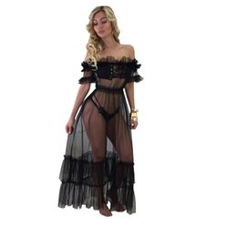 $enCountryForm.capitalKeyWord NZ - Plus Size Sheer Mesh Maxi Dress Women Short Sleeve Ruffle Black See Through Dress With Tops And Shorts Summer Sexy Beach Dresses