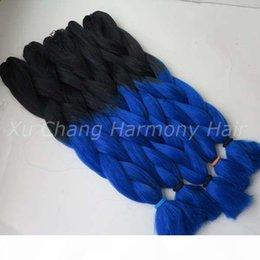 Discount ombre kanekalon braiding hair blue - Kanekalon Jumbo Braiding Synthetic Hair 24 inch 100g Black&Royal blue Ombre Two Tone Colored Xpression Hair Extension be