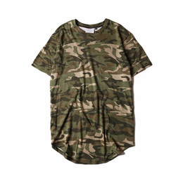 Wholesale mens camouflage t shirts online – design Mens T Shirts Extend the Bottom Of The Arc Crew Neck Camouflage Stripe Personality Summer Fashion Casual Tee Shirt