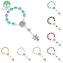 $enCountryForm.capitalKeyWord Australia - 10pcs Imitation Pearl Beads Catholic Rosary Catholic Holy Communion Angel Wings Crucifix Pendants Bracelet nice gift