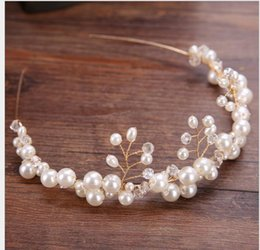 Wholesale buttons hair jewelry for sale - Group buy Handmade Pearl Hair Head Button Wedding Garment Accessory Hair Belt Crown Hair Hoop Bride Jewelry