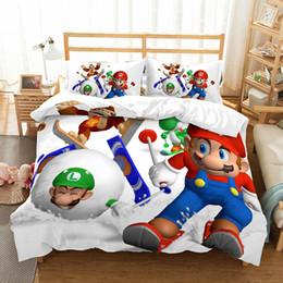 $enCountryForm.capitalKeyWord Australia - Thumbedding Kids Bedding Sets Super Mario White Duvet Cover Set 3D Single Double Queen King Twin Full High Quality Bed Set 3pcs