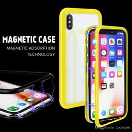 iphone cases gold color NZ - Candy Color Magnetic Adsorption Tempered Glass Phone Case For iphone xs max case For iphone x 6 7 8 Universal Case PC Frame
