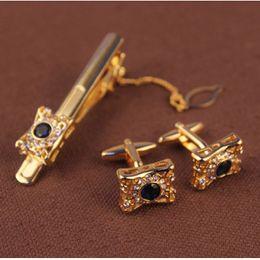 conjuntos dos homens clipe abotoaduras laço manga botão de camisa cuff botão stickpin tie set bar cuff-link terno acessórios de prata dourada em Promoção