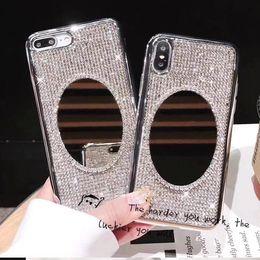 $enCountryForm.capitalKeyWord Australia - Rhinestone Bling Glitter Case for iphone XS MAX XR 10 X 7 8 Plus 6 6s Soft Diamond Sexy Girl Makeup Mirror Protector Back Cover shell