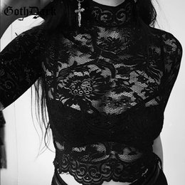 $enCountryForm.capitalKeyWord Australia - Goth Dark Aesthetic Mesh Hollow Out T-shirts Hole Patchwork Crop Top Solid T-shirt Gothic Transparent Embroidery T Shirt Lace C19042301