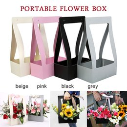 waterproof wrapping paper Canada - Wrapping Gift Case Foldable Flower Box Gift Box Paper Flower Shop Living Room Valentine'S Day Fashion Waterproof DIY Vase