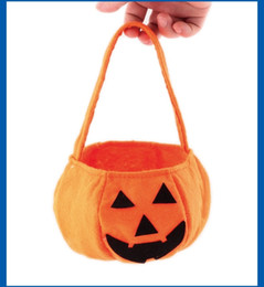funny gifts christmas Canada - Halloween Pumpkin Gift Bag Kids Candy Handbag Bucket Child Funny Candy Gift Bag Hanging Home Decor Nonwovens Three-dimensional