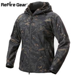$enCountryForm.capitalKeyWord Australia - Refire Gear Shark Skin Soft Shell Tactical Military Jacket Men Waterproof Fleece Coat Army Clothes Camouflage Windbreaker Jacket T2190617