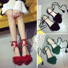 code sandals 2019 - Mini2019 Toe Tassels Crossing Bandage Level With Flat Bottom Woman Will Code Sandals cheap code sandals