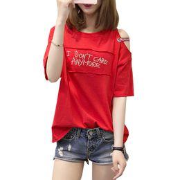 $enCountryForm.capitalKeyWord NZ - Womens Summer Tops Tee Shirts Casual Half Sleeve Printed Off Shoulder T-shirt 2019 Cotton Tshirt Women Clothes Poleras De Mujer Y190509