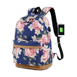 $enCountryForm.capitalKeyWord Australia - kids floral print school backpack usb charge book bag school bags for teenage girls chinese style travel laptop backpack backbag