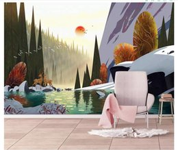 Chinese Hand Painting Landscaping Australia - Papel de parede Custom 3d photo murals wall paper European modern hand-painted beautiful landscape lake wall decoration painting