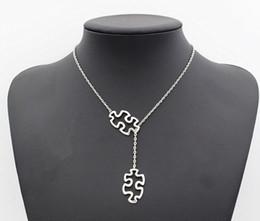 $enCountryForm.capitalKeyWord Australia - Fashion Tibetan Silver Autism Jewelry Awareness Jigsaw Double Puzzle Piece Pendant Adjustable Necklace Gifts