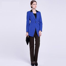 $enCountryForm.capitalKeyWord NZ - One Button Mother of the Bride Pant Suits Slim Fit Blue Women Business Suits Tuxedo Blazer For Wedding(Jacket+Pants)