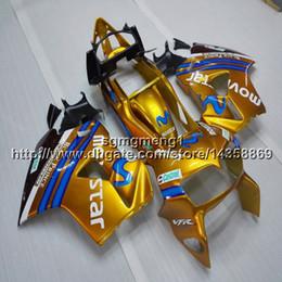 $enCountryForm.capitalKeyWord Australia - Gifts+Screws movistar gold motorcycle article for HONDA VFR800 1998 1999 2000 2001 ABS plastic motor Fairing kit