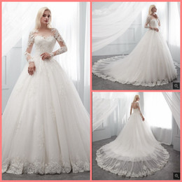 Hot Sexy White Dresses Australia - 2019 Free shipping ball gown white lace appliques long sleeve wedding dress beaded hollow back sexy princess wedding gowns hot sale