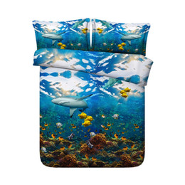 teen bedding sets full NZ - Shark Fish 3 Pieces Duvet Cover 2 Pillow Shams Ocean Bedding Sets Gifts For Adult Teen Kids Boys Girls Bedspreads NO Quilt