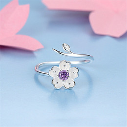 3ff84a1304b0fa Chandler 925 Sterling Silver Daisy Flower Branch Wrap Rings Adjustable  Purple CZ Thumb Toe Bague For Women Love Promise Luxury